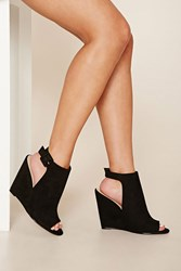 Forever 21 Faux Suede Open Toe Wedges