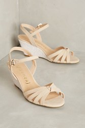 Anthropologie Vicenza Glitter Wedges Neutral