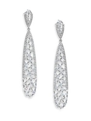 Adriana Orsini Frozen Long Teardrop Earrings Silvertone