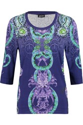 Just Cavalli Printed Stretch Jersey T Shirt Blue