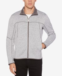 Perry Ellis Men's Full Zip Knit Sweater Smoke Heather