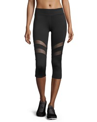 Marc New York Marc Ny Performance Double Mesh Inset Capri Leggings Black