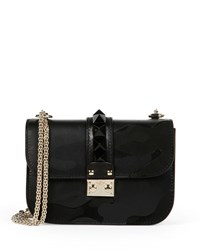 Lock Camo Embossed Small Shoulder Bag Black Valentino