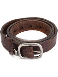 Dondup Distressed Buckled Belt Brown