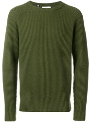 Closed Ribbed Knit Sweater Green