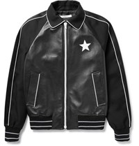 Givenchy Satin Trimmed Leather And Wool Twill Bomber Jacket Black
