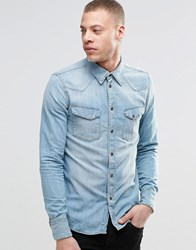 Nudie Jeans Jonis Bronson Western Denim Shirt In Light Blue Wash Denim