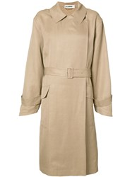 Jil Sander Belted Trench Coat Women Linen Flax Viscose 36 Brown