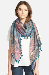 La Fiorentina Women's Floral Print Silk And Cotton Scarf Pink Blue