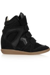 Isabel Marant The Bekett Suede And Leather Wedge Sneakers Black
