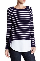 Cable And Gauge Stripe Lace Up Sweater Blue