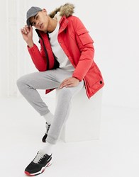 Jack And Jones Originals Parka With Borg Lining Faux Fur Hood Red