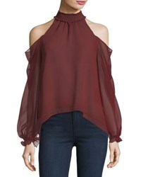 Likely Sutter Cold Shoulder Chiffon Top Dark Red