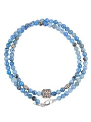 Catherine Michiels Crystal Square Beaded Necklace Blue