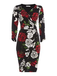 Shubette Rose Print Jersey Dress Black Multi