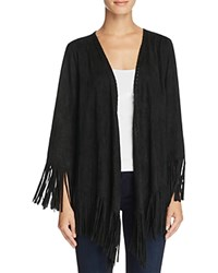 Show Me Your Mumu Marfa Fringe Faux Suede Jacket Black Stretch Suede