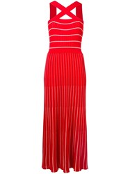 Sonia Rykiel Ribbed Knit Maxi Dress Red