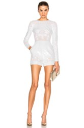 Zuhair Murad Long Sleeve Embroidered Romper In White