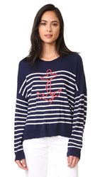 Sundry Anchor Sweater Navy White Stripe