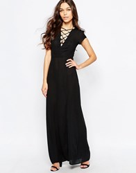 Love Maxi Dress With Lace Up Detail Black