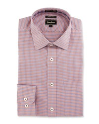 Neiman Marcus Trim Fit Non Iron Plaid Dress Shirt Orange
