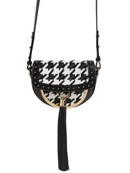 Balmain Domain 18 Houndstooth Leather Bag