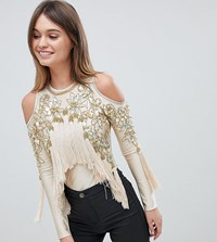 A Star Is Born Cold Shoulder Bodysuit With Tassel Detail Nude Gold Pink
