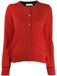 Tory Burch Knitted Logo Cardigan Red