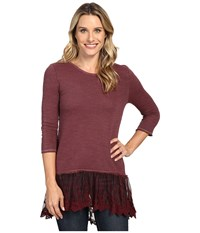 Dylan By True Grit Luxe Sparkle Slub 3 4 Sleeve Top W Victorian Lace Hem Claret Women's Clothing Red