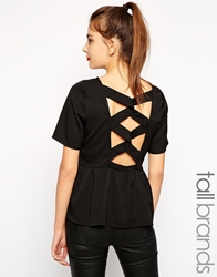 Girls On Film Tall Cross Back Peplum Top Black