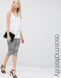 Asos Maternity Midi Skirt In Leopard Print White Base Leopard Multi