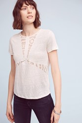 Anthropologie Lace Burst Linen Tee Cream