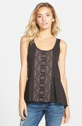 Junior Women's Sun And Shadow Embroidered Peplum Tank Black