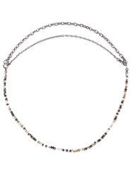 Bottega Veneta Tiger's Eye Stone Necklace Black Multi