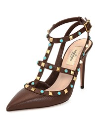 Valentino Rockstud Leather T Strap Pump Cacao Turquoise Women's Size 39.0B 9.0B
