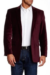 Us Polo Assn. Maroon Velvet Modern Fit Two Button Notch Collar Double Vent Sport Coat Red