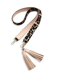 Kate Spade Mix It Up Leopard Print Calf Hair Shoulder Strap And Leather Tassel Pack Beige