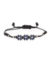 Pippo Perez Pull Cord Bracelet With Blue Sapphires Clovers In 18K White Gold