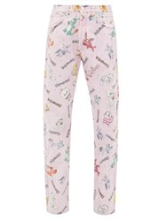 Vetements Cartoon Print Straight Leg Jeans Pink
