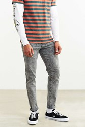 Dr. Denim Grey Acid Wash Snap Skinny Jean Light Grey