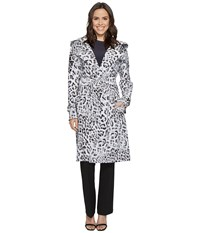 Norma Kamali Double Breasted Trench Combo White Leopard Women's Coat Multi