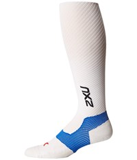 2Xu Elite Lite X Lock Compression Socks White White Men's Knee High Socks Shoes