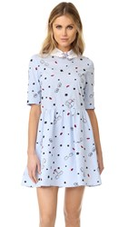 Vivetta Printed Collar Dress Light Blue White