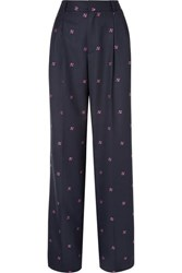 Paul And Joe Nora Embroidered Checked Wool Blend Wide Leg Pants Navy