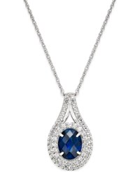 Macy's Lab Created Sapphire 2 Ct. T.W. And White Sapphire 3 4 Ct. T.W. Pendant Necklace In Sterling Silver