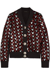 Marc Jacobs Sequin Embellished Wool Cardigan Gray