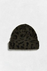 Urban Outfitters Uo Fuzzy Leopard Beanie Green