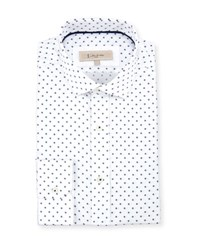 English Laundry Woven Dot Print Dress Shirt Blue