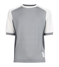 Stefano Ricci Colour Block Silk T Shirt Male Grey