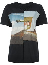 Cedric Charlier Pleated Landscape Print T Shirt Black
